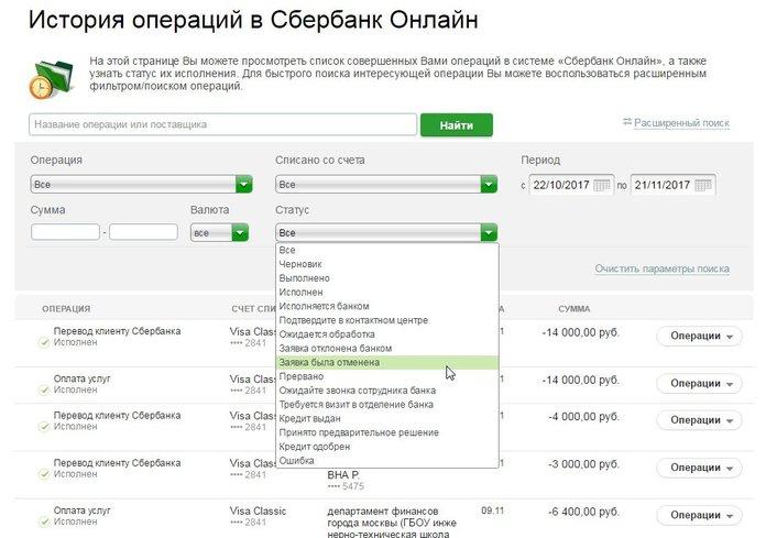 Как отменить перевод с карты Сбербанка через Сбербанк Онлайн