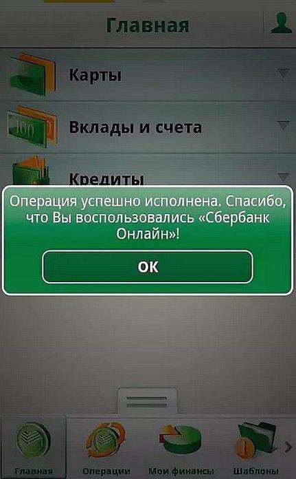 Завершение процедуры оплаты кредита в мобильном приложении