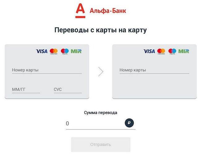 Переводы на портале Альфа-Банка