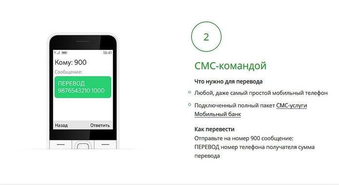Денежный перевод в Сбербанке СМС-командой