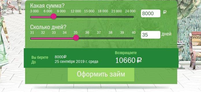 Калькулятор для расчета суммы кредита в МФО Green Money