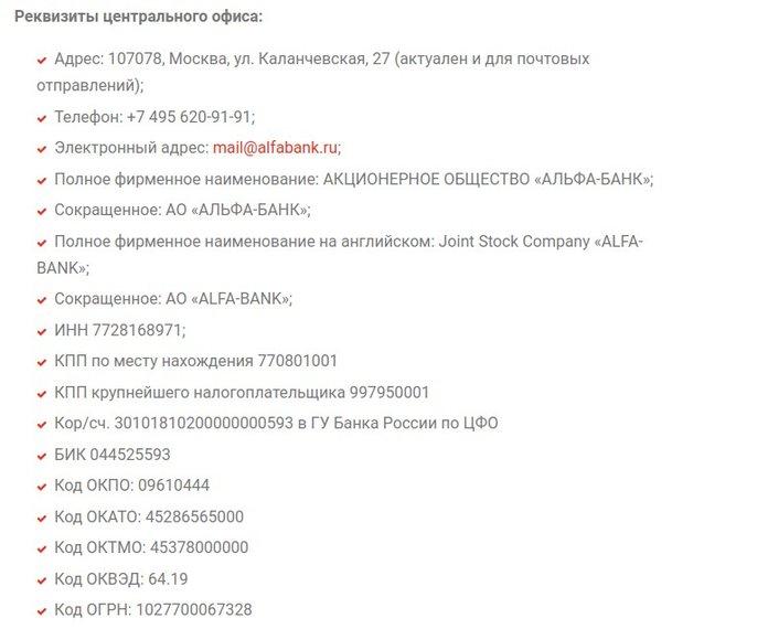 Реквизиты центрального офиса Альфа Банка
