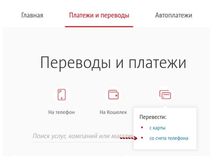 Перевод с телефона МТС на карту