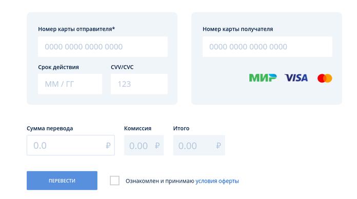 сервис для переводов с карты на карту Почта Банк